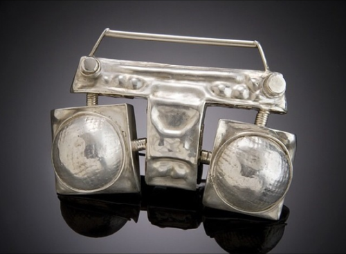 sarah holden ghetto blaster brooch 2006 sterling and fine silver